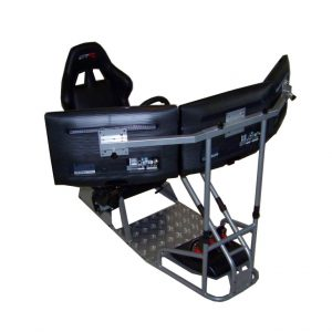 GTSF Model with Real Racing Seat, Driving Simulator Cockpit with Gear Shifter Mount and Triple or Single Monitor Mount