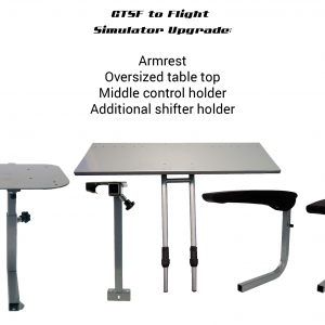 GTSF racing model to Flight Simulator upgrade – additional shifter holder, armrest, oversize table top, middle control holder. GTR Pass Discounted
