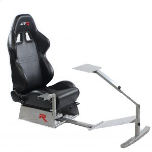 Touring Model Simulator with Silver Frame and Adjustable Leatherette Racing Seat – Color Options Available