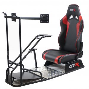 GTSF Model Black Frame with Gear Shifter Mount, Triple or Single Monitor Mount and Real Racing Seat- Color Options Available