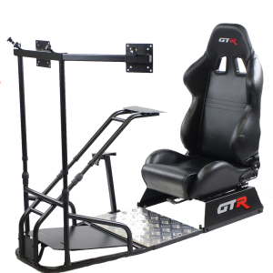 GTSF Model Black Frame with Gear Shifter Mount, Triple or Single Monitor Mount and Real Racing Seat- Color Options Available GTR Pass Discounted