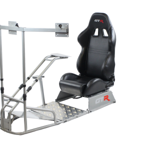 GTSF Model Silver Frame with Gear Shifter Mount, Triple or Single Monitor Mount and Real Racing Seat- Color Options Available