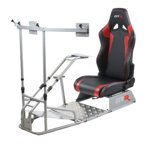 GTSF Model Silver Frame with Gear Shifter Mount, Triple or Single Monitor Mount and Real Racing Seat- Color Options Available (Backorder Queuing 4 weeks)